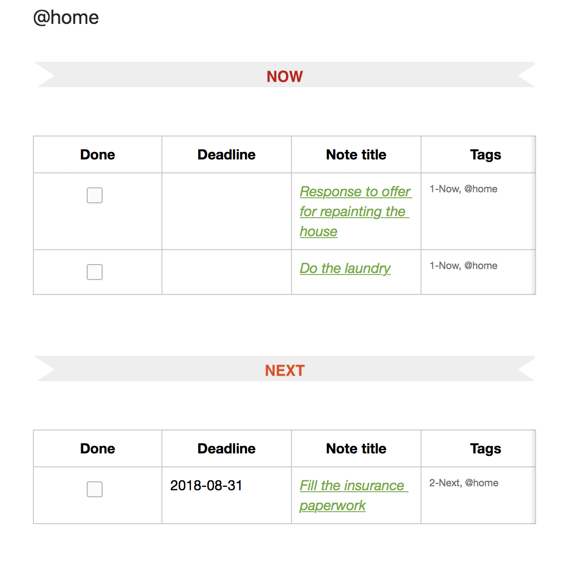 Evernote Dashboard for next tasks