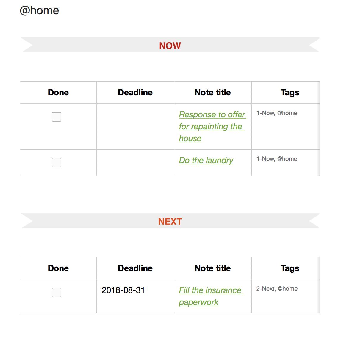 Evernote Dashboard for next tasks